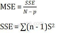 方差分析计算公式
